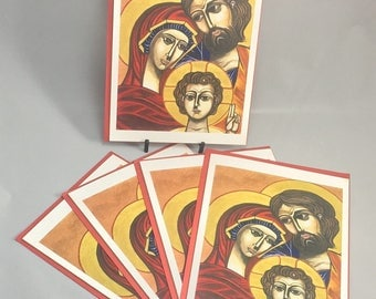 """5 Blank cards 5"""" X 7"""" with envelopes - """"Holy Family"""" - Print of an original watercolor painting -Christian greeting card"""