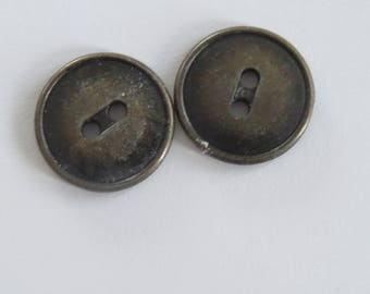 Vintage round metal button bronze