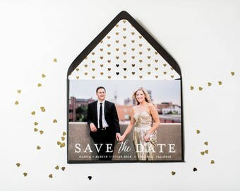 NEW! photo save the date invitation  //  printable or printed / photo save the date card modern calligraphy custom gold foil