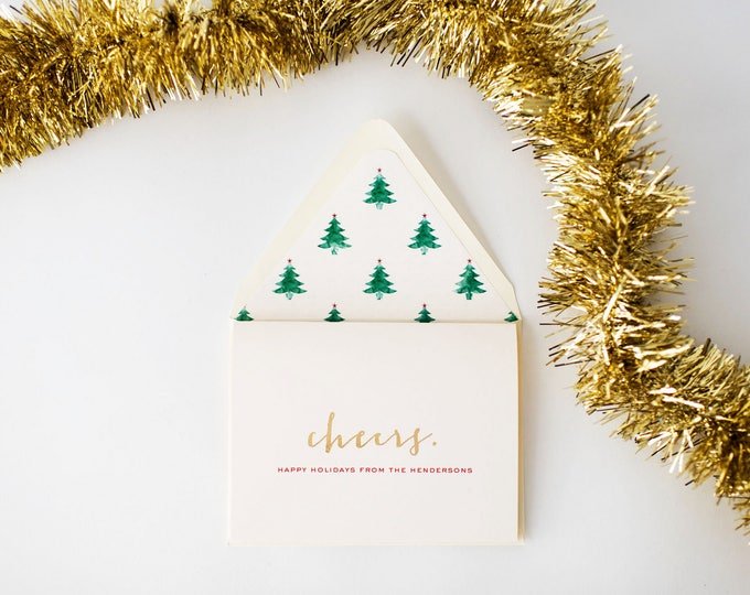 personalized gold foil holiday cards + lined envelopes (set of 10)