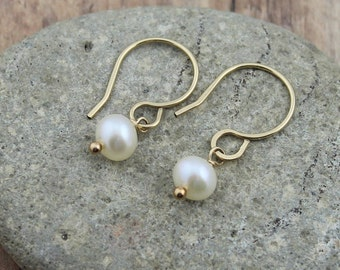 14K Gold Filled Cultured Freshwater Pearl Dangle Earrings; Dainty, Everyday Earrings, Woman's Gift, Wedding Party Gifts, Bridal Jewelry