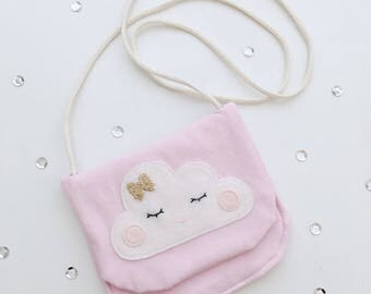 Bag with cloud, pink, gold bow tie, gift, kids bag, bag