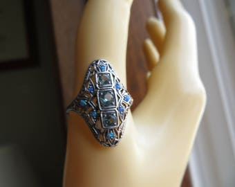 Genuine 1.00ctw Aquamarine & Fire Opal 925 Sterling Silver Filigree Ring Size 8, Wt. 2.4 Grams