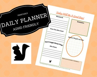 8.5x11, Day Planner, Daily Planner, Printable Planner, Printable Note, Planner Printable, Printable Note, Instant Download, To Do List, Adhd