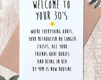 Funny birthday card, 30th birthday card, birthday card friend, Greeting Card, birthday card funny, birthday card for her, card for 30th,