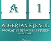 Algerian Stencil Font – Decorative UPPERCASE Letters Alphabet Typography  #072