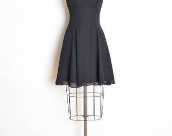 vintage 90s dress, black dress, strappy dress, 90s goth dress, sweetheart neckline, 90s clothing, 90s party dress, full dress XS extra small