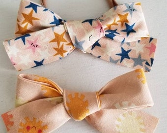 Moody Star & Smiling Sun duo. Headbands or Hair Clips
