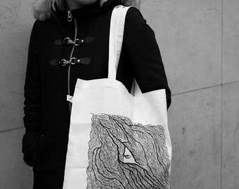 UMBRIOIID Tote Bag in organic cotton - Linocut print in limited and numbered series