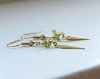 Peridot Gold Spike Earrings Boho Jewelry Tribal Jewelry Rustic Earrings Green Gemstone Earrings August Birthstone Earrings Gothic Jewelry