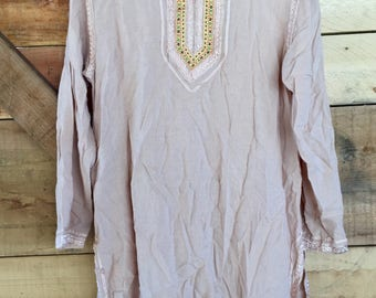 Vintage Blush Colored Indian Tunic Top - Medium