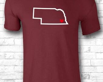 Custom Nebraska T shirt Native Nebraska Pride Map Nebraska Shirt Nebraska Clothing Born in Nebraska Home Shirt Apparel 502