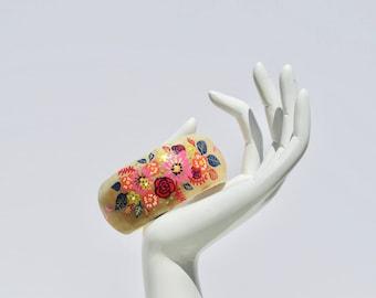 Mirage XL Hand Painted Wooden Bracelet / Cuff