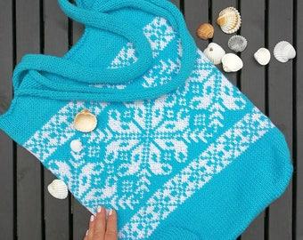 Turquoise Tote Bag | Cheap Tote Bag | Gift for Her| Festival Bag | Wool Womens Bag | Messenger Bag | Scandinavian Style | Nordic Pattern Bag