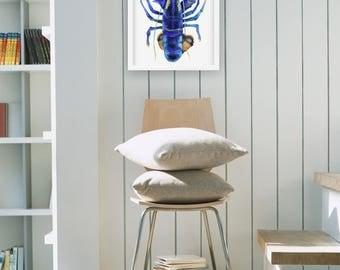 Blue Lobster Watercolor | Blue Lobster Painting | Blue Lobster Wall Art | Blue Lobster Illustration | Lobster Art Print | Blue Lobster Decor