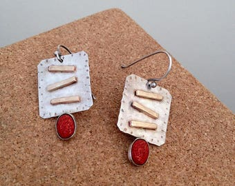 Mixed Metal Earrings, Sterling Silver ,  red earrings stone , Handmade, Dangle Earrings , Coral earrings