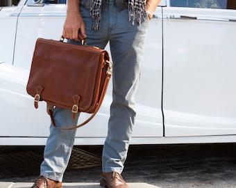 Leather Messenger Bag, Brown Leather Messenger, Mens Leather Briefcase, Laptop Bag, Leather bag, Mens Briefcase (4010BROWN)