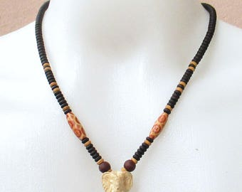 Necklace Kala Coconut Shell design with Ganesha Head for Thai Amulet Pendant