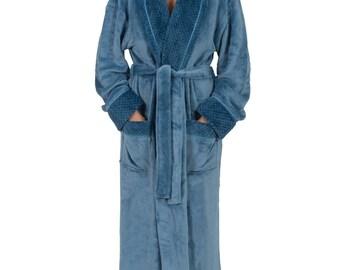 "Women's 48"" Spa Style Full Length Robe with Velvet Collar & Cuffs"