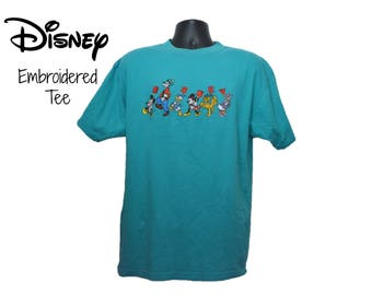 90s DISNEY ORIGINALS T-Shirt Size Large Mens Womens Mickey Mouse Minnie Donald Duck Daisy Pluto Goofy Embroidered Embroidery Walt Disney