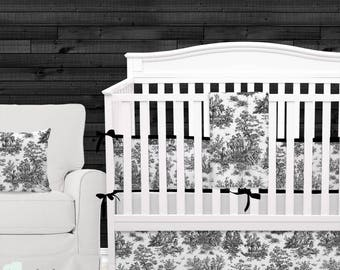Shabby Chic Black & White Toile Baby Crib Bedding | Toile Gender Neutral Nursery | Toile Baby Bedding Set | Toile Crib Bedding Set