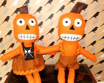 FREE Shipping..Pumpkin Linen Fabric Dolls, (Boy & Girl)  1 set, FREE SHIPPING