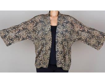 Kimono, Silk Kimono, Black and Cream Kimono Jacket, Kimono Cardigan, Kimono Jacket, Chrysanthemums, Summer Kimono, Short Kimono, Cardigan