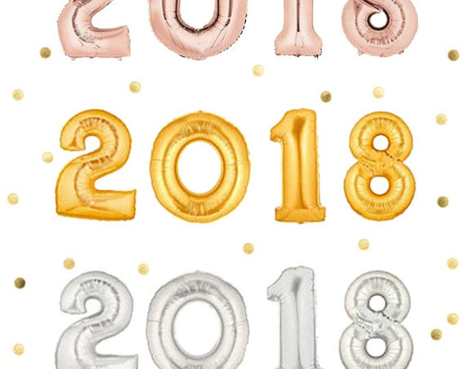 """2018 Balloons, New Years Eve Decoration Ideas, Gold, Silver or Rose Gold, 40"""" Balloons or 14"""" Foil Number Balloons, Jumbo Balloon"""