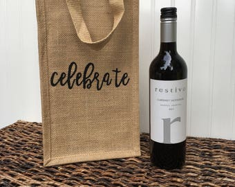 Celebrate Burlap Wine Bag