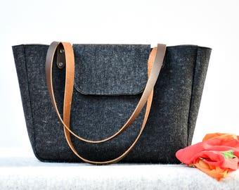 Minimalist Charcoal Tote Bag Lined (made to order), Felt Tote, Handbag for Work, Wool Felt Bag, Work Bag, Shoulder Bag, Gift for Wife