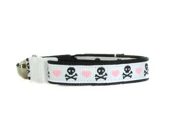 Skull Cat Collar / Breakaway Cat Collar  / Pink Collar / Kitty Collar / Puppy Collar / Kitten Collar / Cute Cat Collar
