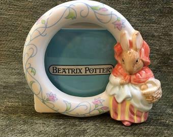Schmid Beatrix Potter Collectible Ceramic Frame, Mrs Rabbit Frame, 1988, NIB, Peter Rabbit Ceramic Frame, Schmid Frames