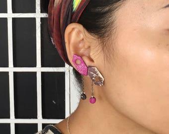 Indigo Pink Leather Earrings | Ear Climbers | Mismatched Earrings | Statement Earrings | Double Piercing Ear Jackets |Leather Chain Earrings