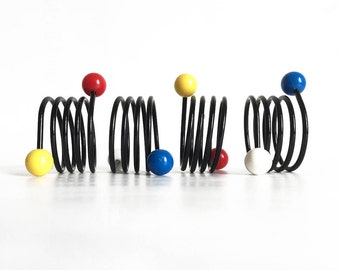 Spiral napkin rings, wire napkin holders, black metal with plastic balls