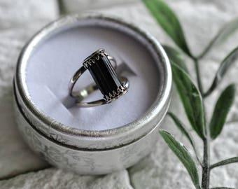 US 7 1/2 Black Tourmaline Sterling Silver Ring Bohemian Freespirit
