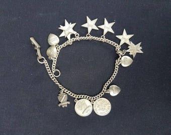 Vintage Beta Sigma Phi Sterling Sorority Charm Bracelet 1960s Service 13 Charms