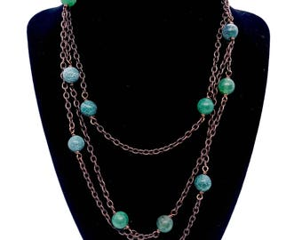Green Agate Rosary Style Wrap necklace