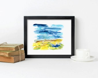 Wedding gift Landscape Painting Art, Watercolor painting, Abstract, simple, modern, Gift for Her Gift for Him - Field & Sky 5