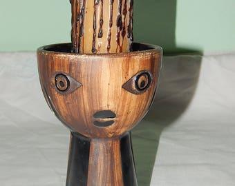 Vintage Ceramic Candleholder With Large Candle