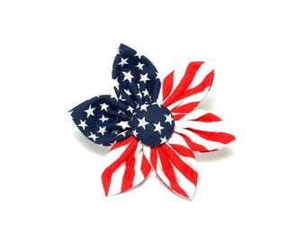 American Flag Flower for Dog collar, Cat collar Patriotic dog, collar flower, pet collar flower, wedding flower, flowers for dog collars
