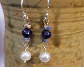 Sodalite, Freshwater Pearl & Denim Lapis Dangle Sterling Silver Earrings