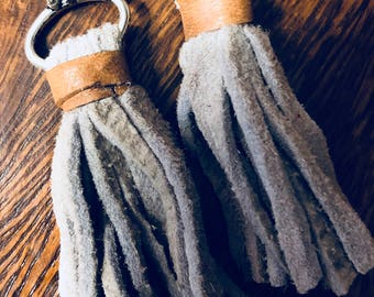 Real Chamois leather, tassel earrings, leather, soft gray, hippie, vintage look, upcycled materials, modern, trendy