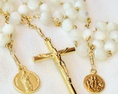 Rosary - French Opalite - Saint Mary Magdalene & Saintes Maries - 18K Gold Vermeil