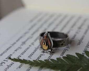 Campfire Ring. Stacking Ring. Flame Ring. Nature Jewellery. Star Ring. Mixed Metal. Wanderlust. Woodland jewelry.