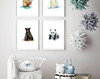 Bear cub art - set 4 prints - baby bear Watercolor painting - panda - brown bear grizzly young black bear - polar bear - cute nursery bears