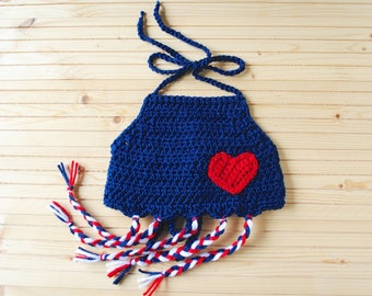 Girls Crop Top, Crochet Top, Girls Crochet Crop Top, Knit Crop Top, Baby Crop Top, 4th of July Top, Red, White, Blue, Baby Girl Halter Top