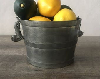 Vintage Pewter Ice Bucket, Pewter Planter, Cowlishaw Boston | koi fish, american pewter, pewter bucket, made in america, silver cachepot