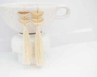 Matte Gold Geo and Cream Long Tassel Earrings