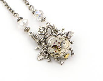 Silver Bee Necklace, Steampunk Jewelry Necklace, Queen Bee Jewelry, Honey Bee Necklace, Bumble Bee Jewelry Necklace, Steampunk Jewelry Gift