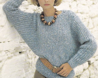 PDF womens dolman batwing sweater jumper vintage knitting pattern pdf INSTANT download pattern only 30 - 40 inches